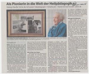 Als Pionierin in die Welt der Heilpädagogik. Basler Zeitung, 28.01.2015